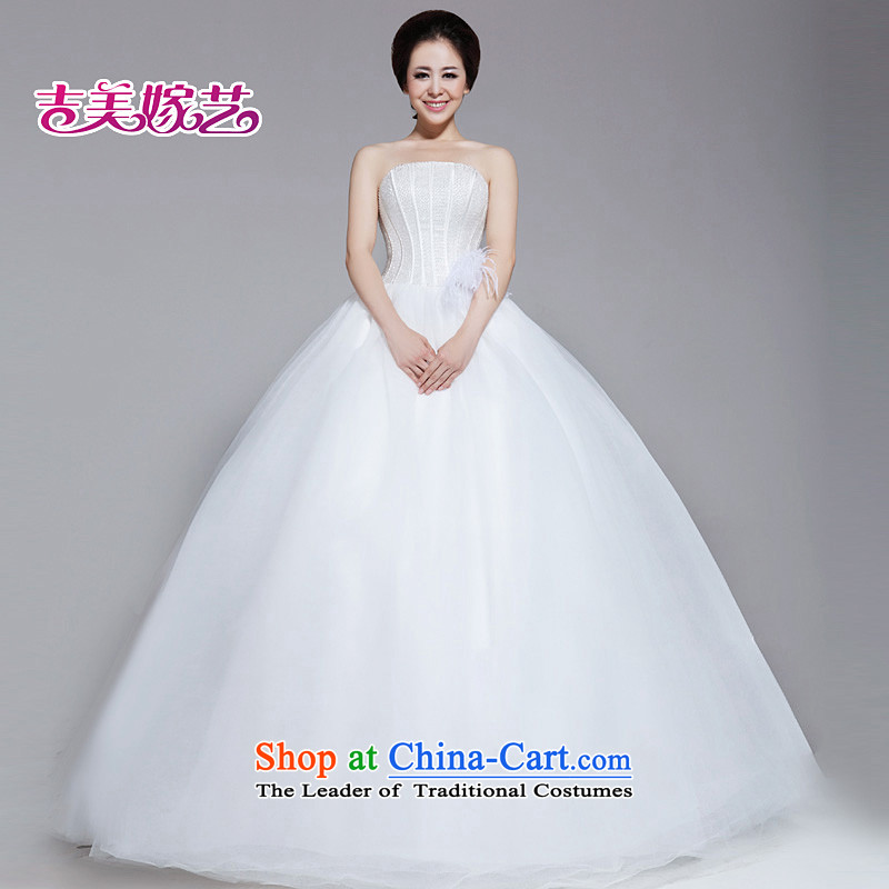 Wedding dress Kyrgyz-american married arts 2013 new anointed chest Korean bon bon skirt ostrich feathers align to the bride 508 wedding white聽L