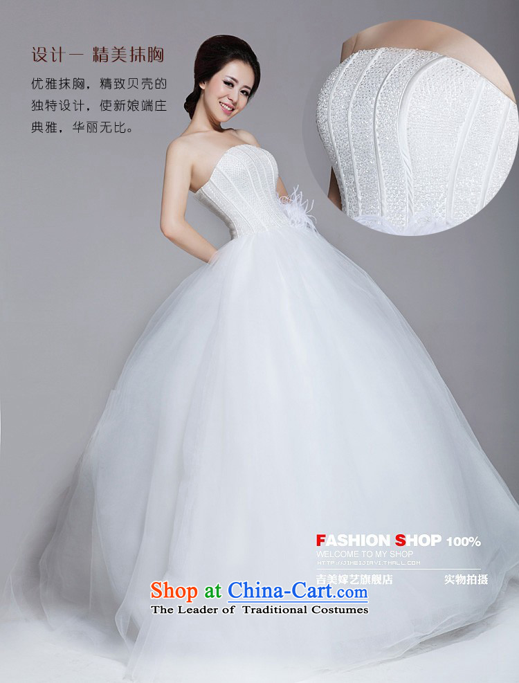 Wedding dress Kyrgyz-american married arts 2013 new anointed chest Korean bon bon skirt ostrich feathers align to the bride 508 wedding white L picture, prices, brand platters! The elections are supplied in the national character of distribution, so action, buy now enjoy more preferential! As soon as possible.