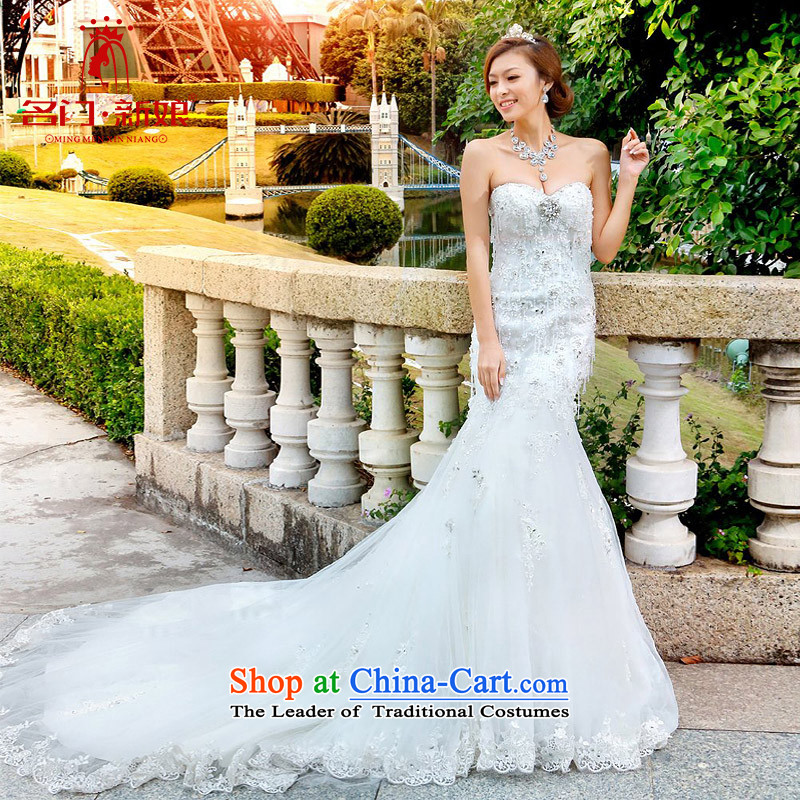 A bride wedding dresses new 2015 tail princess wedding Korean sweet crowsfoot wedding A966 M