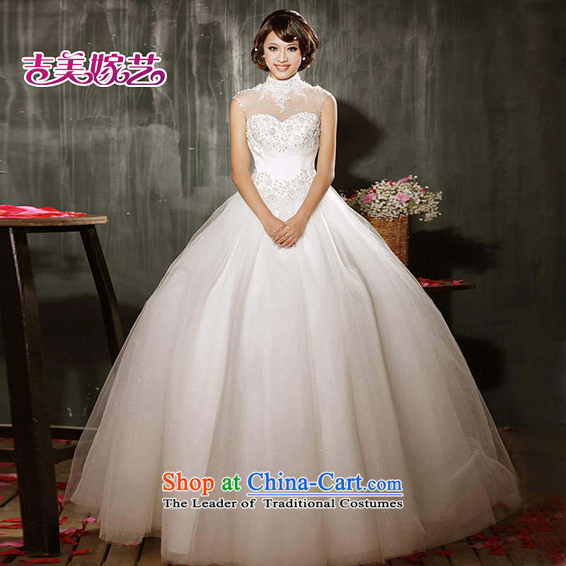 Beijing No. year wedding dresses Kyrgyz-american married new Korean arts 2015 edition high collar align bon bon skirt to HS605 bride wedding ivory XXXL