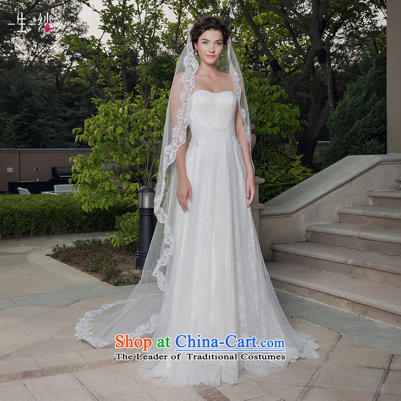A lifetime of wedding dresses�2015 new Korean lace and legal maximum tail hairpiece yarn White�5 m