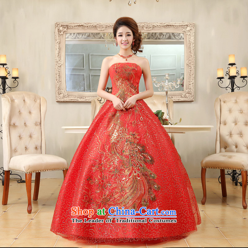 Guijin Keun-Korea shared the palace of brilliant red handicraft embroidery and chest) Bride wedding dress k79 large red S code from Suzhou Shipment