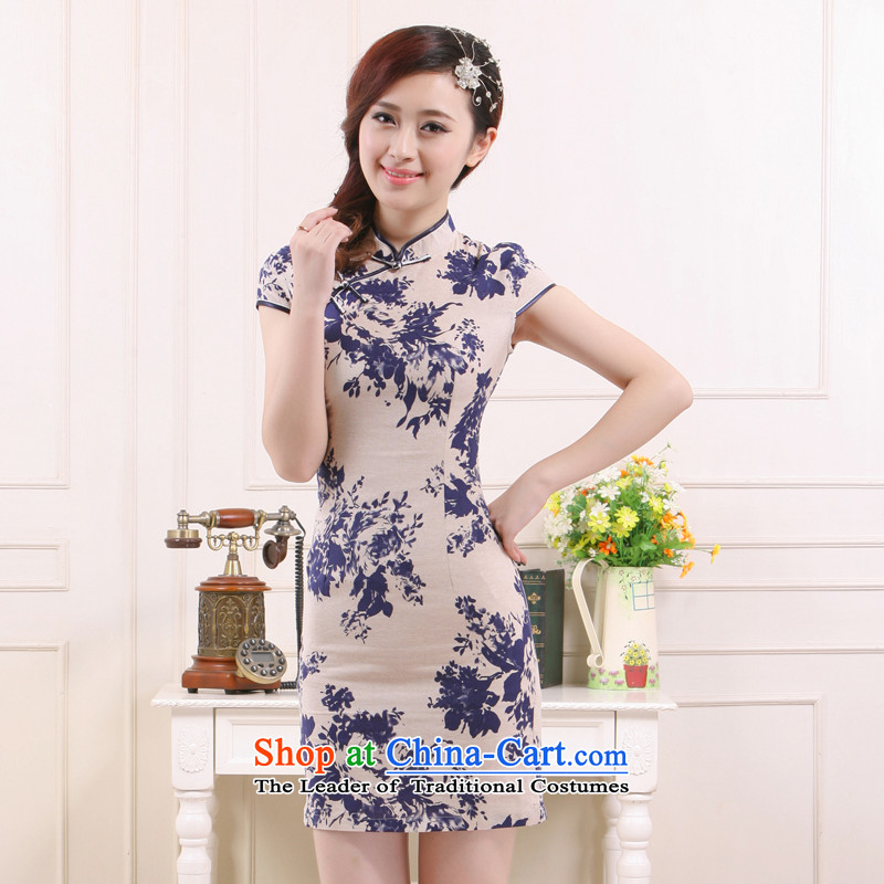 The former Yugoslavia Li aware of spring and summer 2015, the new president of linen breathability and comfort elegant stylish improved Sau San qipao retro?QW451?short card its?XL
