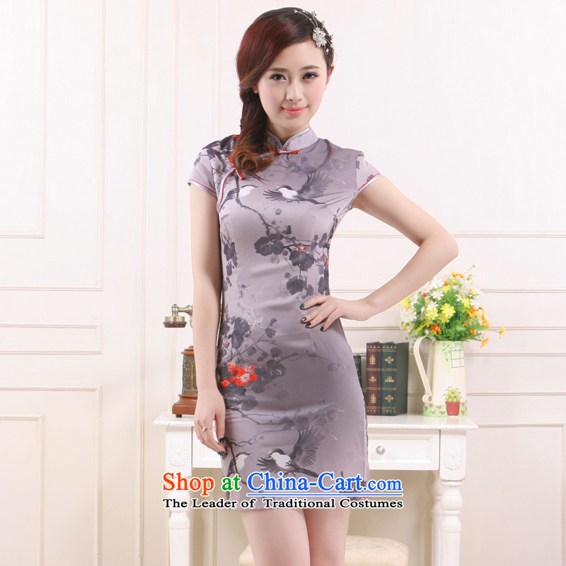 The former Yugoslavia ?�2015 Spring/Summer Li new stylish China wind love of birds elegance short skirt� QW4501-2 QIPAO)�gray�S
