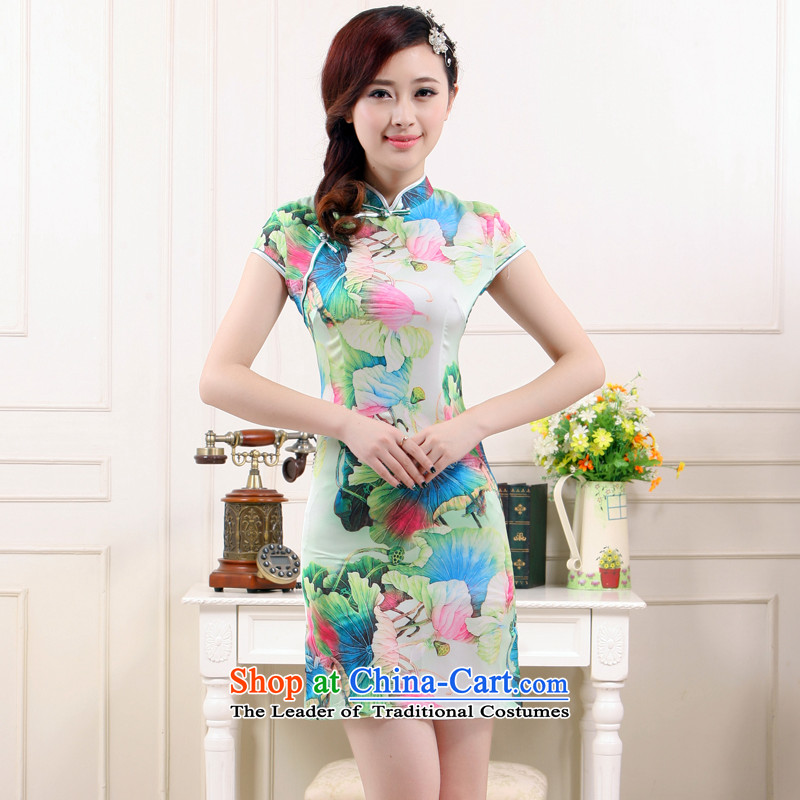 The former Yugoslavia Li aware of?spring and summer 2015 New Stylish retro improved I should be grateful if you would have the following a cool breeze in the Sau San emulation silk cheongsam dress skirt small Kangnam?QW4503?green lotus?M