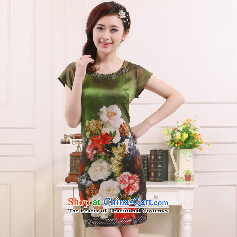 2015 Ms. new round-neck collar manually staple-joo Silk Cheongsam relaxd improved Mudan clothes for the Former Yugoslavia informed�QR5217 Li�Green�M