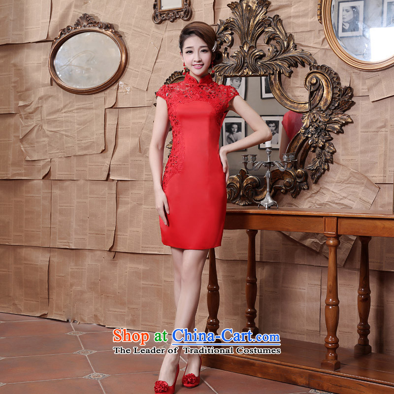 Shared Keun guijin Chinese classical exquisite embroidery lace on chip elegant qipao_ Bride toasting champagne short service?k81??XXXL Red Book 3 days from Suzhou Shipment