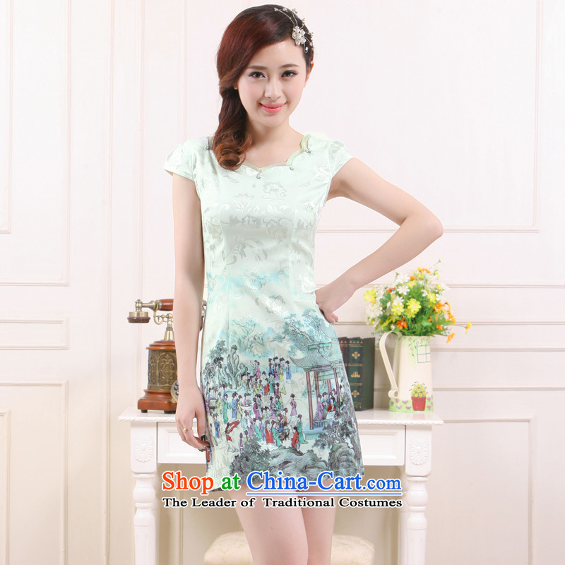 The former Yugoslavia Li aware of?spring and summer 2015 New Light Pik Gangnam China wind qipao retro improved stylish Sau San dress? QC3-7896?cyan?L