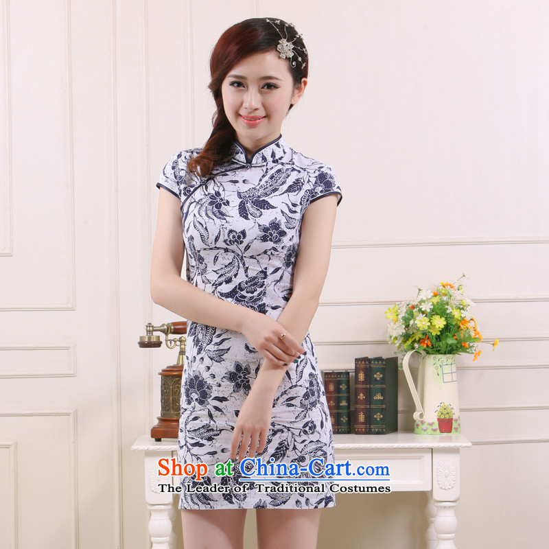 The former Yugoslavia Li aware of�spring and summer 2015 new retro improved porcelain stylish Sau San cotton linen dresses�QW4511 short�blue�L