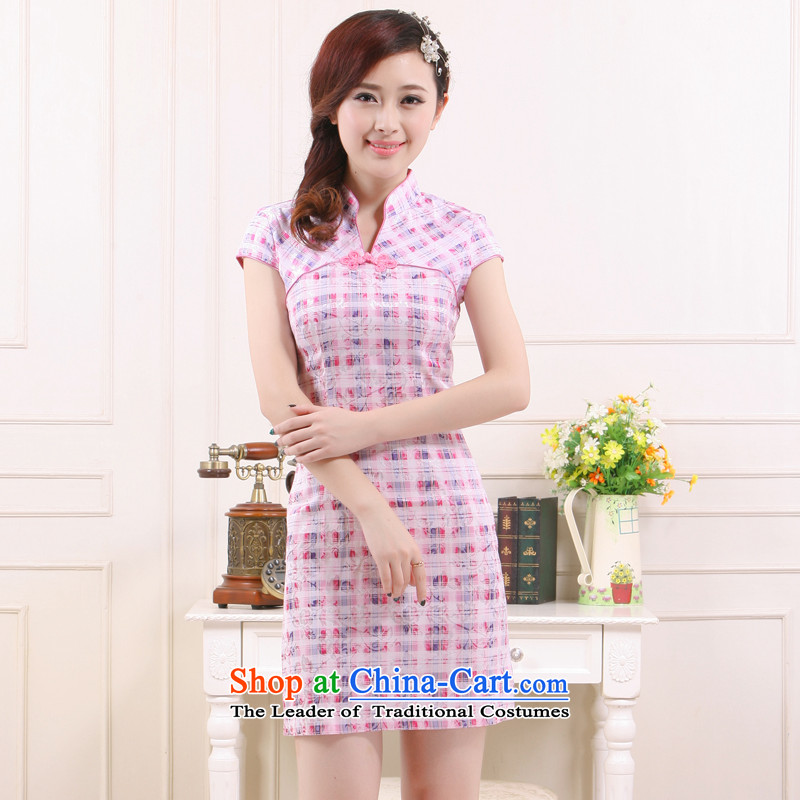 Summer 2015 Ms. new stylish tartan shirt retro improved qipao small elegant?QW4514 know Li?latticed?S
