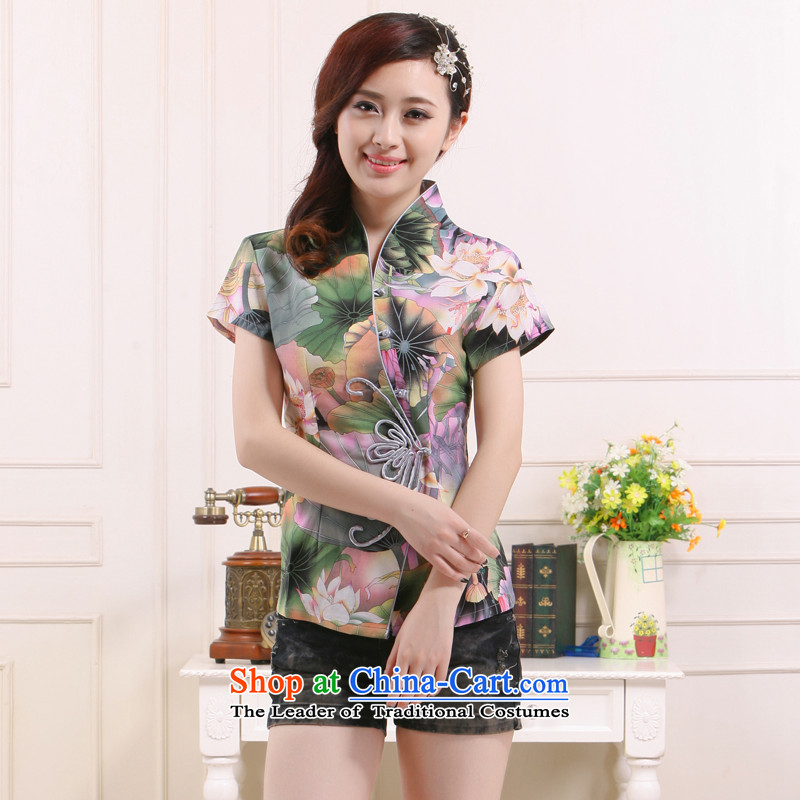 2015 new summer stylish improved lotus short shirts qipao V-neck in the Tang dynasty, Ms. Li known small improvement retro QW-113 green lotus XXL