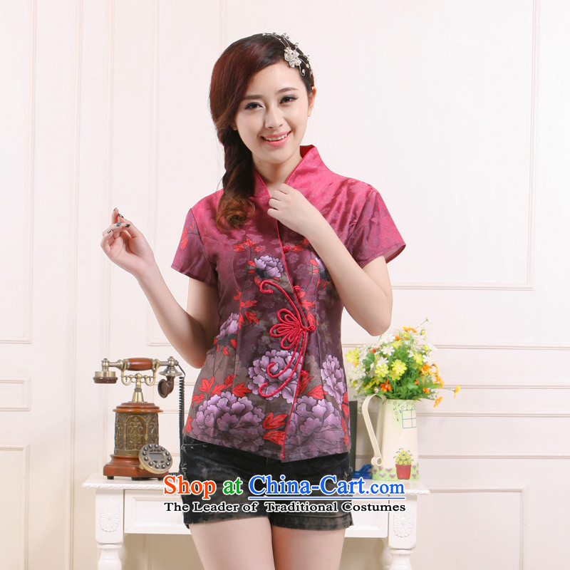 Summer 2015 New President Tang new stylish improved Sau San short shirts elegant qipao slimming knowledge�QW-115 Li�aubergine�XL