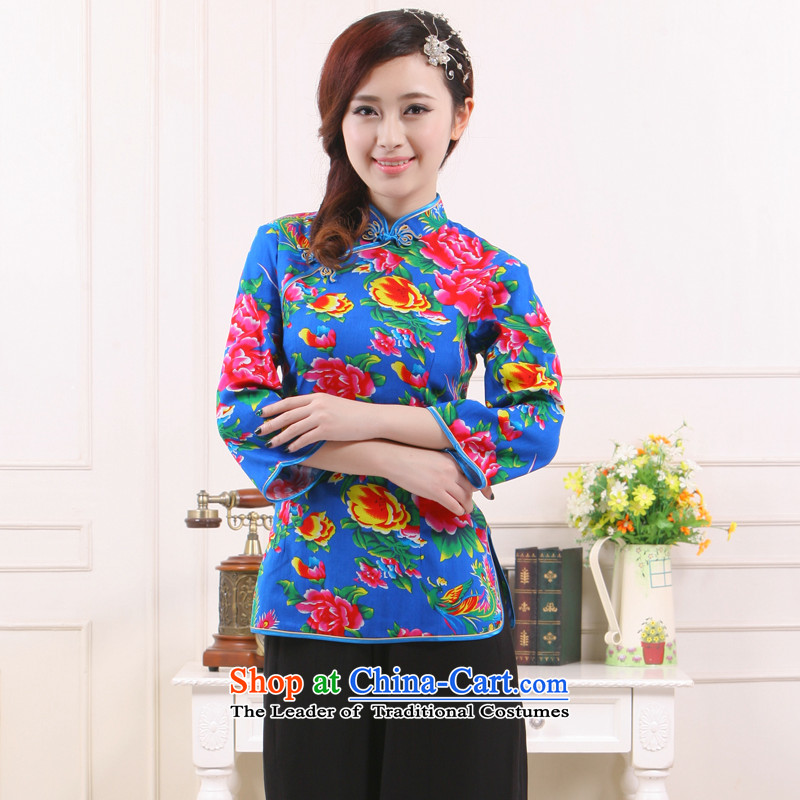 Summer 2015 Ms. new working dress retro improved stylish teahouse short piece?3 color in the former Yugoslavia understand?QW-111 Li?blue?XXL