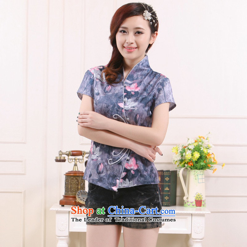 The new 2014 Ms. Tang Gown of nostalgia for the improvement of the Former Yugoslavia since Lotus gray stylish Li aware short shirts�QW-112�gray water lily�XXL