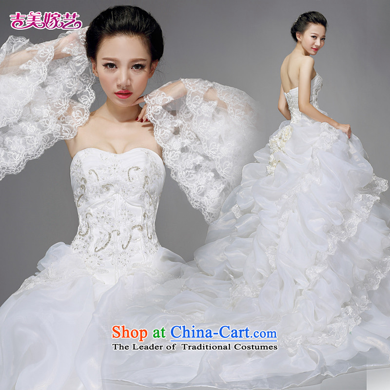 Beijing No. year wedding dresses Kyrgyz-american married new anointed arts 2015 Chest Korean skirt tail HS615 Princess Bride wedding XXXL White