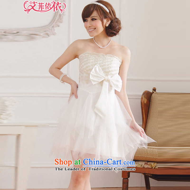 Large glued to the Eiffel embroidered gauze wiping the chest small dress short version of Korea 2015 Marriage banquet hosted bride bridesmaid wedding dress bon bon 4596th White XL