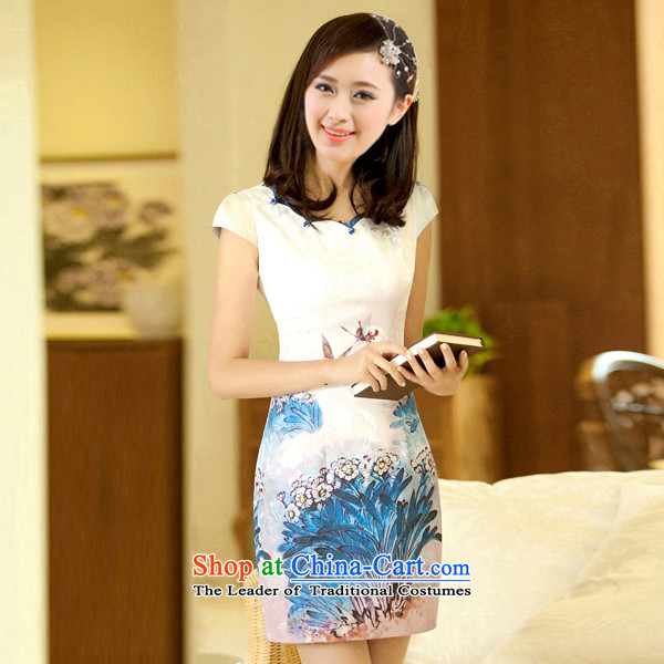 The former Yugoslavia Li aware of聽spring and summer 2015 new butterfly elegant qipao Fei Fei skirt psychedelic Dream butterfly foreign domain wind retro small dress聽QTA13-012聽butterfly blue聽XL