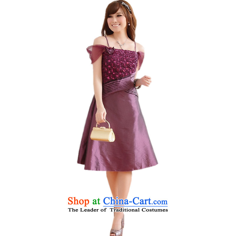Large glued to the Eiffel graphics thin shoulders down small dress skirt?2015 Korean short of marriage banquet moderator bridesmaid strap evening dress skirt are Code 635 PURPLE