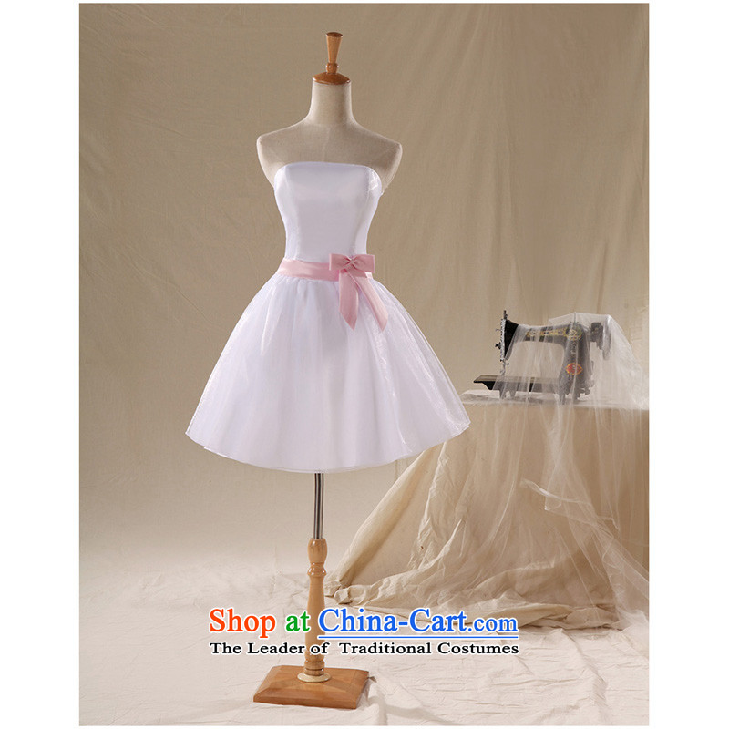 Shared ultra-low-cost guijin Keun-young explosions) Bubblegum Pink ribbons and lovely short of chest bows small dress bridesmaid?LF75 services?Pink?S code from Suzhou Shipment