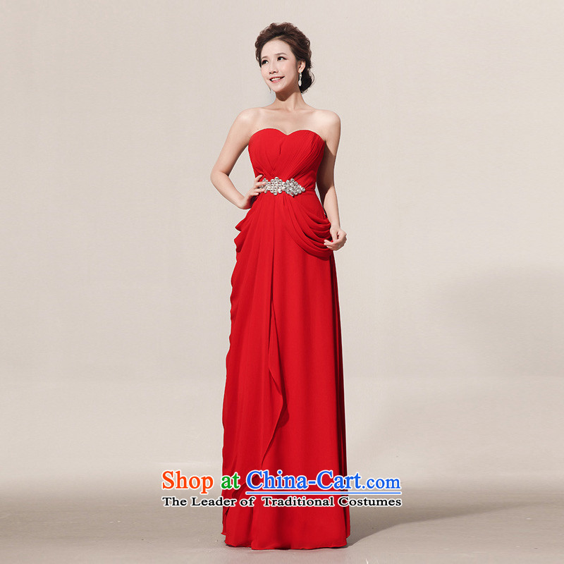 Wipe the chest guijin Keun-Shared Flash drill length) red bride wedding dress lf108 large red?L code from Suzhou Shipment