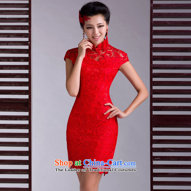 Mrs Alexa Lam Roundup聽2013 new marriage cheongsam dress red summer short of stylish lace dress retro bride wedding services聽16551 bows聽RED聽M