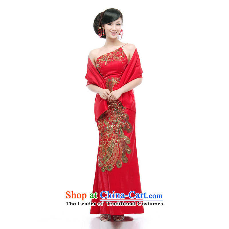 Mrs Alexa Lam roundup satin red tail dress embroidery Phoenix Chinese qipao Beveled Shoulder the Sau San improved marriages bows?to align the service 09652 RED?M