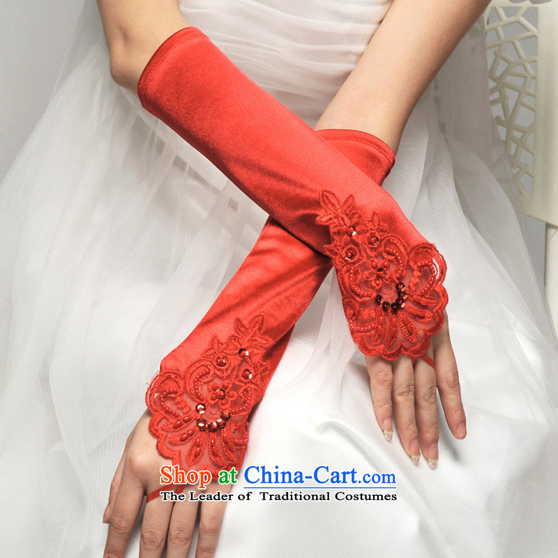 Mslover�lace decals long check means marriages Satin glove wedding dresses accessories�LST120902�red