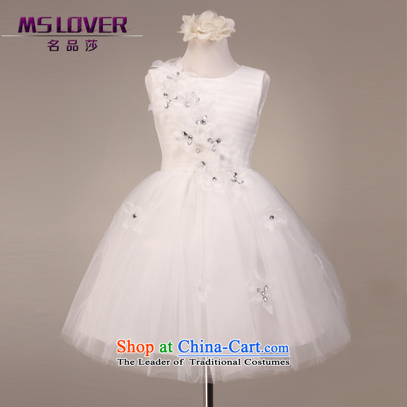 Mslover elegant sleeveless bon bon skirt girls princess skirt children dance performances to dress wedding dress Flower Girls 5810 m 8 white dress code
