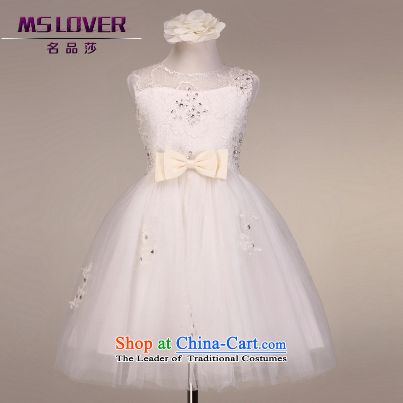?High-end mslover lace sleeveless skirt girls princess skirt children dance performances to dress wedding dress Flower Girls dress?of?rice white?12 code (3-7 day shipping) scheduled