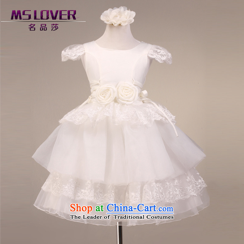 Mslover�Sweetheart of a short-sleeved bon bon skirt girls princess skirt children dance performances to dress wedding dress Flower Girls dress��code 5863 m White 6