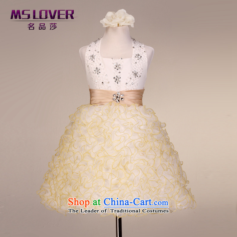 Mslover  retro diamond bon bon skirt girls princess skirt children dance performances to dress wedding dress Flower Girls dress 5870 Champagne Color 4