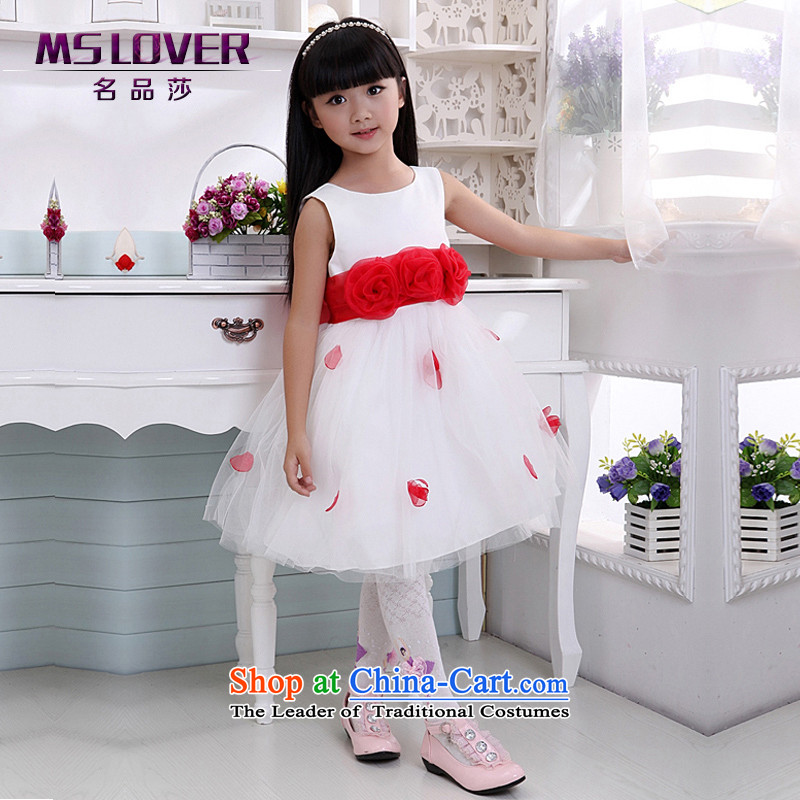 Mslover sweet sleeveless bon bon skirt girls princess skirt children dance performances to dress wedding dress Flower Girls dress 7008 m White 12 code (3-7 day shipping) scheduled