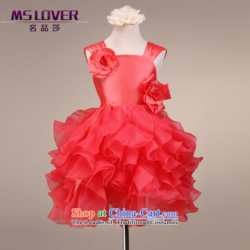 The lifting strap mslover flowers bon bon skirt girls princess skirt children dance performances to dress wedding dress Flower Girls dress 9081 Red 4 yards of watermelon