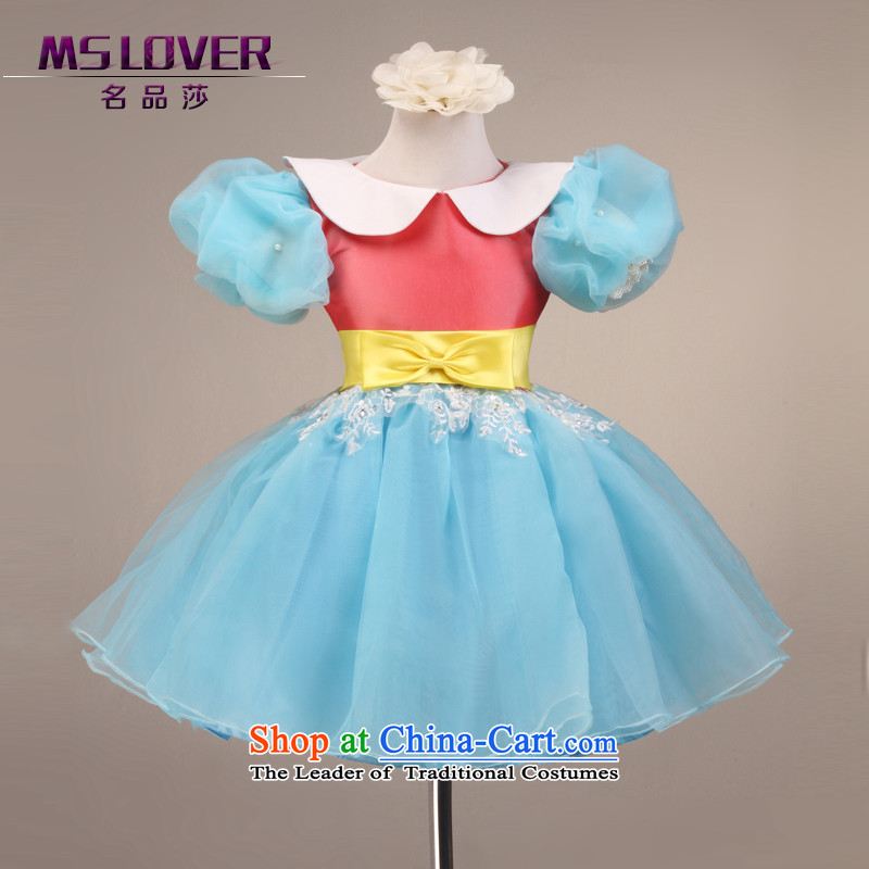 Fairy Tale of nostalgia for the bubbles mslover cuff girls princess skirt children dance performances to dress wedding dress Flower Girls 9,092 Blue 8 code dress