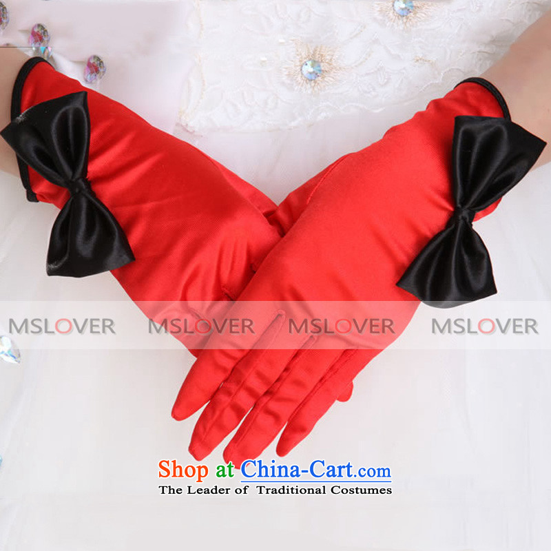 ?The classic black and red Collision mslover color bow tie satin five fingers short of the dinner show marriages gloves wedding gloves ST1316 red