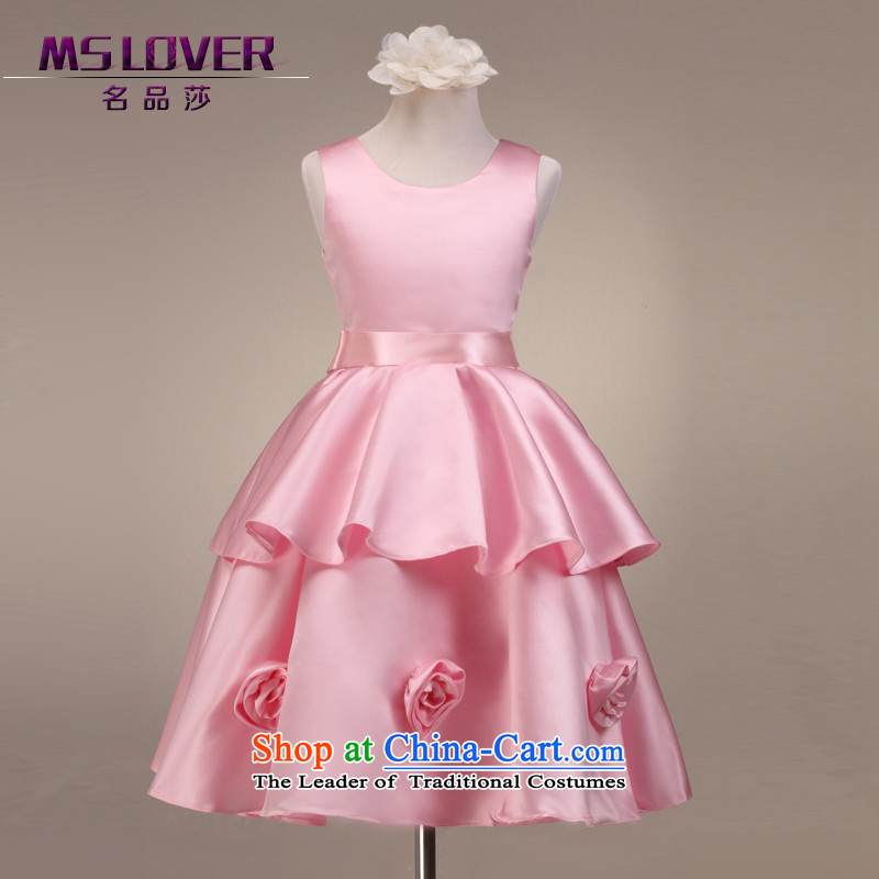 Mslover�temperament sleeveless cake skirt children dance performances to dress children wedding dress Flower Girls dress�FD130605�pink�12 code (3-7 day shipping) scheduled