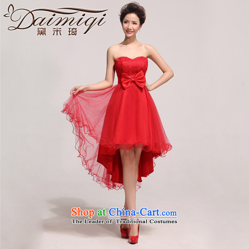 Doi m qi red front stub long after the water-soluble lace heart and chest service will drink bride photo building photo RED M