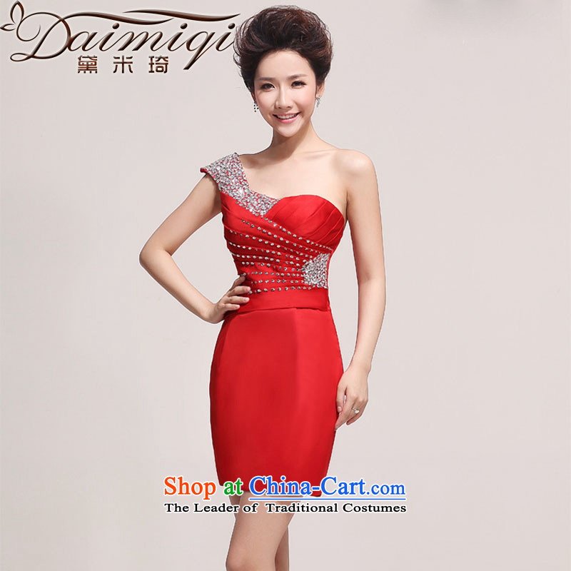 Doi m qi wedding dresses 2013 New Booking Wedding Dress Short, red banquet style small shoulder dress skirt red聽L