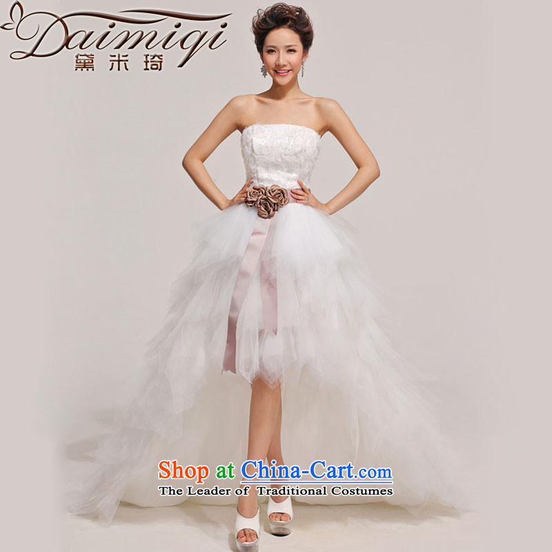 Doi m qi wedding photography Korean tail front stub long after wedding dresses 2014 new Korean tail wedding White XL