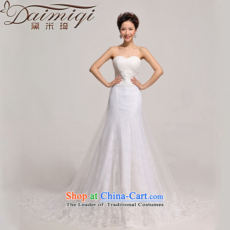 Doi m qi 2014 new tail wedding wedding photography Korean sweet lace anointed chest Foutune of tail wedding White聽XL