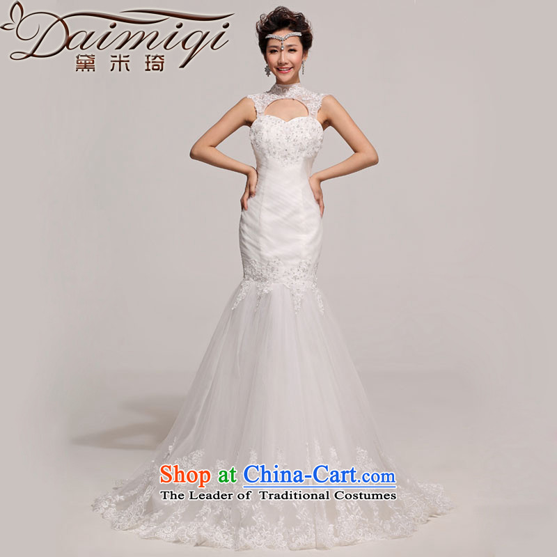 Doi m qi wedding dresses new 2014 foutune crowsfoot tail Korean word princess shoulder lace wedding white L