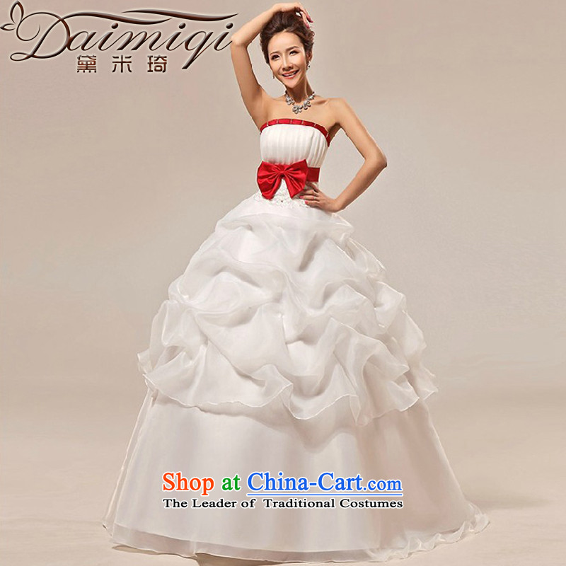 Doi m qi new stylish wedding dresses Korean sweet Princess Mary Magdalene Chest straps marriages wedding dresses White聽XXL