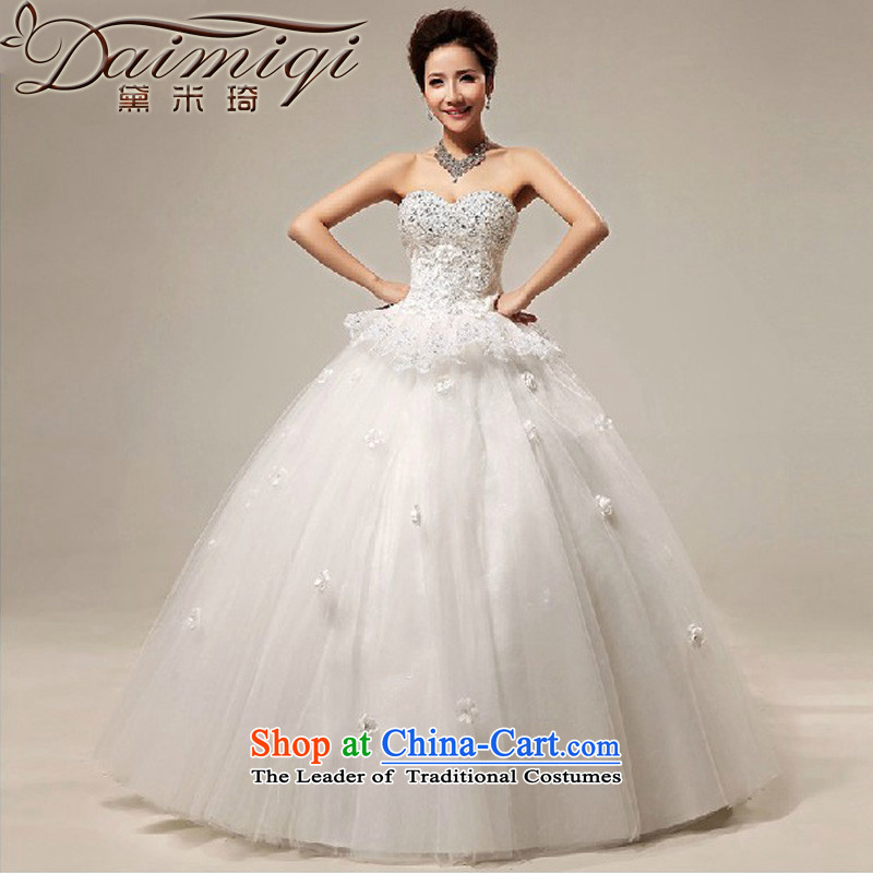 Doi m qi 2014 new anointed chest lace hotel to align bon bon bride wedding dress white聽S