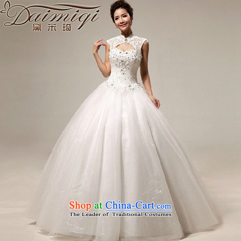 Doi m qi wedding dresses new 2014 Korean wedding snapshot on the princess drill lace zip to align the wedding White?M)