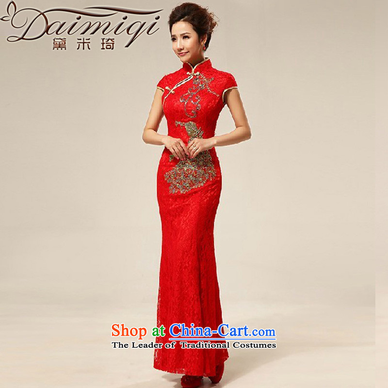 Doi m qi red retro lace Chinese improved marriages bows cheongsam dress wedding bride with red qipao�XL
