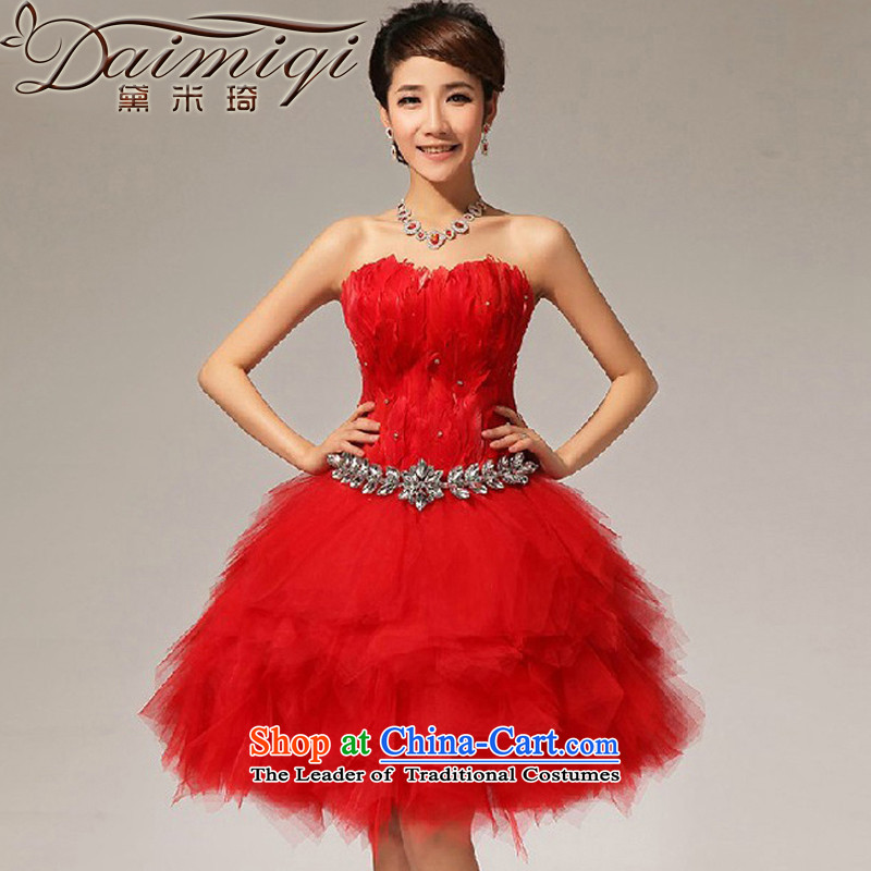 Doi m Qi Evening Dress Short_ Bride wedding dress bridesmaid Services Services Red Dress small bows dress red S