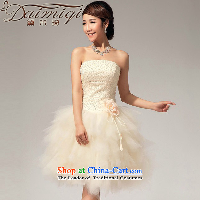 Doi m Qi Wedding Spring Summer anointed chest pearl small dress short skirt sister bridesmaid skirt champagne color?XXL