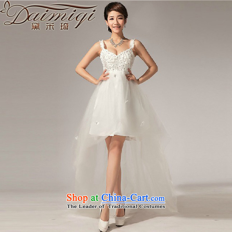 Doi m qi wedding wedding dresses new 2014 front stub and drag the small diamond dress skirt White?M