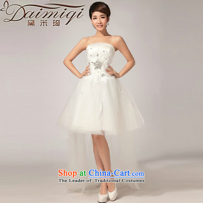 Doi m qi 2014 spring wiping the chest of the new short skirts swing diamond bridesmaid small dress in lawn before long after short skirt White?XL