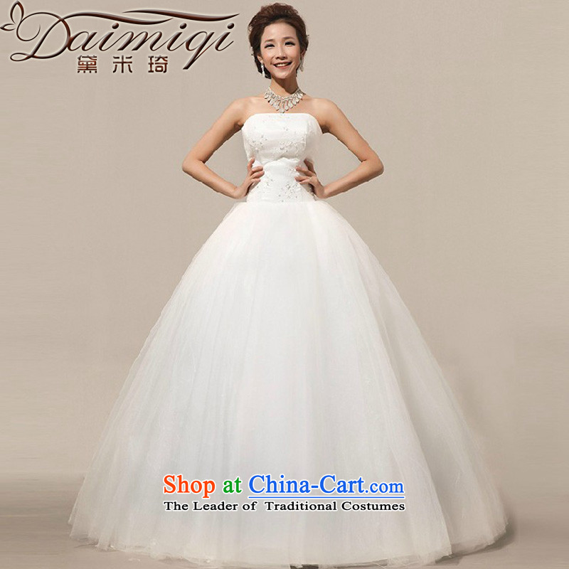 Doi m qi 2014 New New anointed chest bon bon skirt to bind with the bride align lace wedding white L